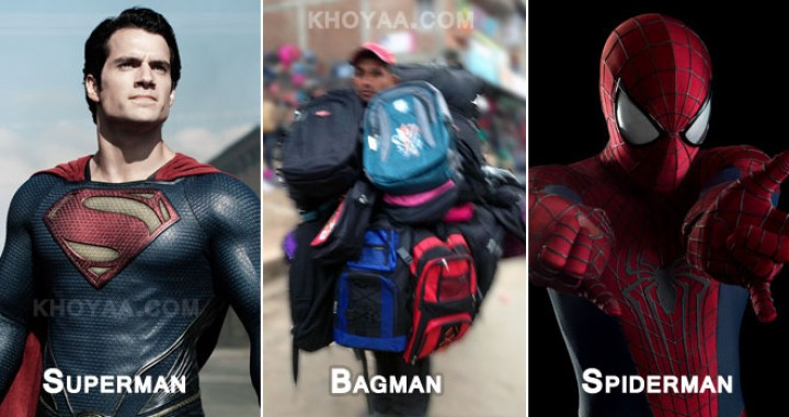 Modern  Superheroes : Spiderman Vs Bagman Vs Superman